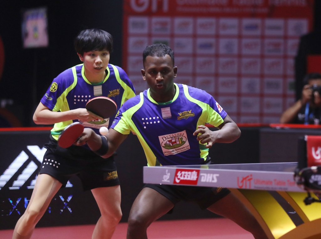 CHENG I-CHING of Team Goa Challengers and AMALRAJ ANTHONY ARPUTHARAJ of Team Goa Challengers in action during the match of the Ultimate Table Tennis League played between Team Puneri Paltan Table Tennis and Team Goa Challengers at Thayagraj Stadium in Delhi, India on 7th August 2019. Photo : Sandeep Shetty / Focus Sports / Ultimate Table Tennis