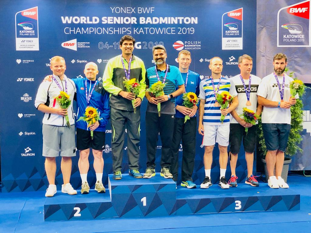 Vijay Lancy Mascarenhas and Ajeet Hari Dass on the podium at the World Senior Badminton Championships