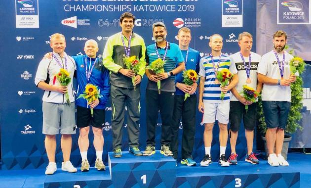 Vijay Lancy Mascarenhas and Ajeet Hari Dass on the podium at the World Senior Badminton Championships