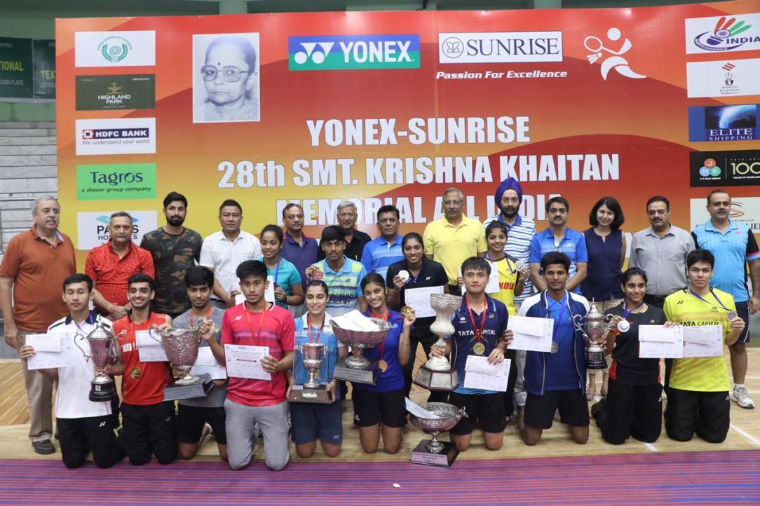 Winners of the Yonex Sunrise Krishna Khaitan All India Junior Ranking Badminton Tournament 2019 in Panchkula along with top BAI and state officials of Haryana Badminton Association