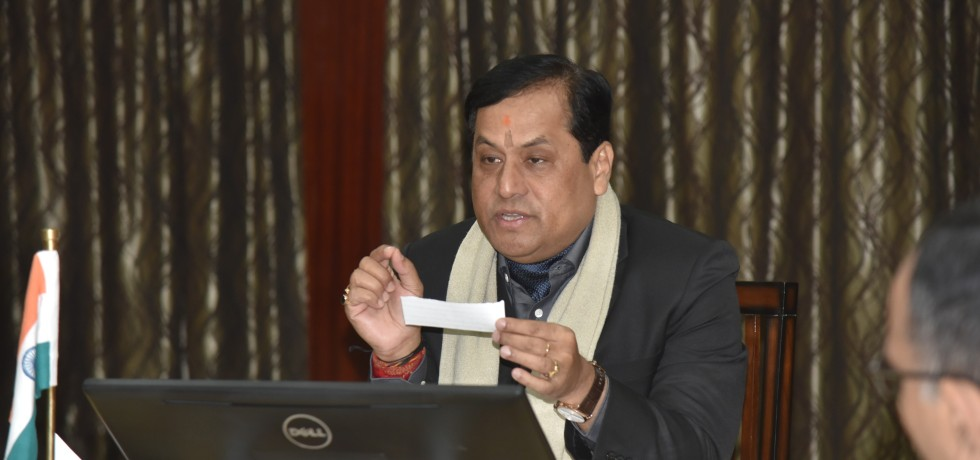 Assam Chief Minister Sarbananda Sonowal hosts a meeting with the officials of the Khelo India Youth Games