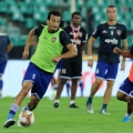 Chennaiyin FC players practise before the start of the match 23 of the Indian Super League ( ISL ) between Chennaiyin FC and Hyderabad FC held at the Jawaharlal Nehru Stadium, Chennai, India on the 25th November 2019.