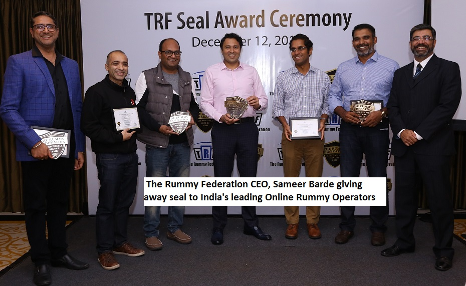 The Rummy Federation CEO Sameer Barde giving away seal to India's leading Online Rummy Operators